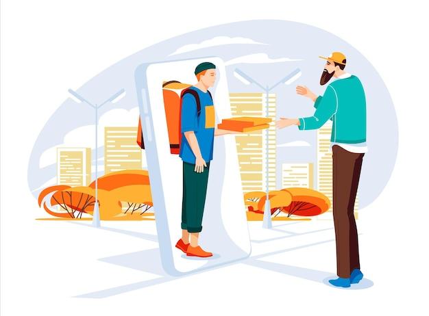 Conceito de serviço de entrega de pizza entregador de um grande smartphone dá pizza para o homem do pedido