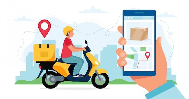 Conceito de serviço de entrega de scooter, personagem de correio, andar de scooter com caixa de entrega