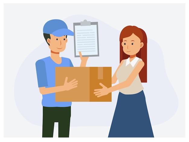 Conceito de serviço de entrega, deliveryman entregou a caixa para cliente mulher.