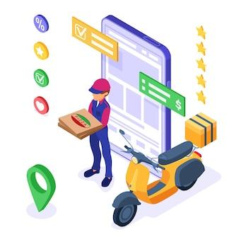 Conceito de serviço de entrega e pedido de comida online com correio, pizza e scooter