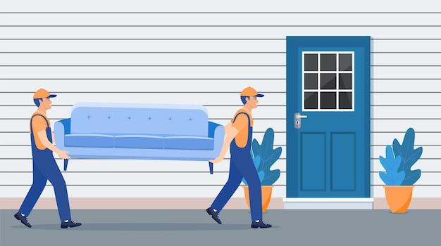 Conceito de serviço de entrega e realocação. mudança de casa. Vetor Premium