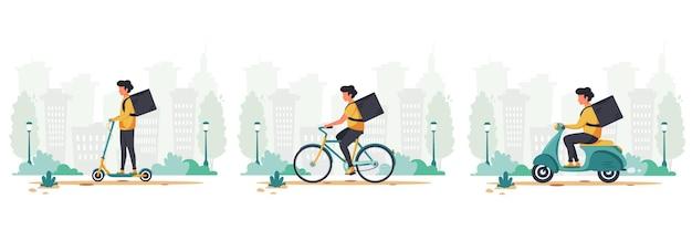 Conceito de serviço de entrega em scooter elétrico, bicicleta e motocicleta
