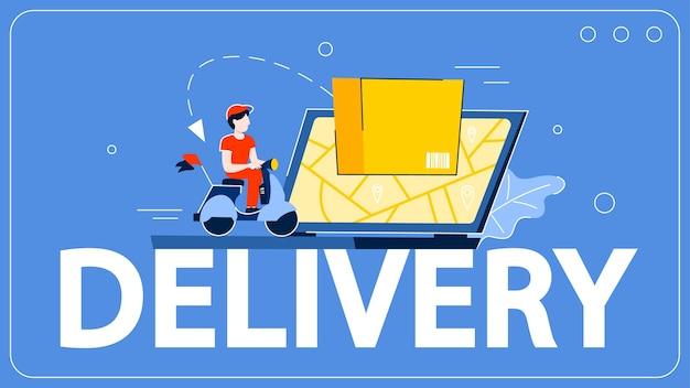 Conceito de serviço de entrega. ilustração de logística e transporte