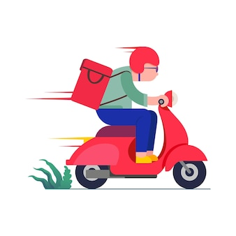 Conceito de serviço de entrega online entregador andando em uma ilustração de scooter vermelha