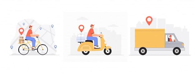 Conceito de serviço de entrega online, entregador, bicicleta de equitação de correio, scooter, carro, bicicleta.