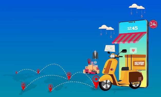 Conceito de serviço de entrega online. ilustração.