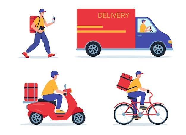 Conceito de serviço de entrega online rastreamento de pedido online entrega em casa e no escritório entregador