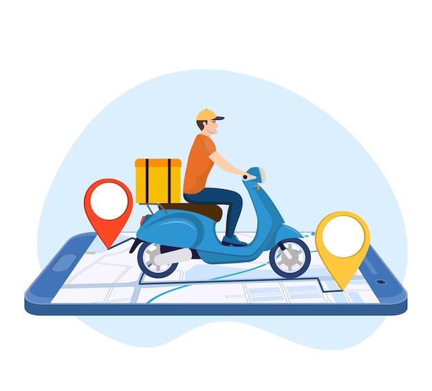 Conceito de serviço de entrega online Vetor Premium