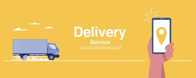 Conceito de serviço de entrega. rastreamento em tempo real no aplicativo móvel.