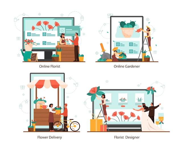 Conceito de serviço de florista online definido em dispositivo diferente. ocupação criativa em negócios florísticos. florista de eventos er. entrega de flores e jardinagem.
