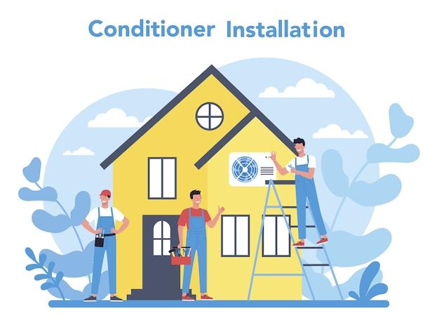Conceito de serviço de instalação e reparo de ar condicionado