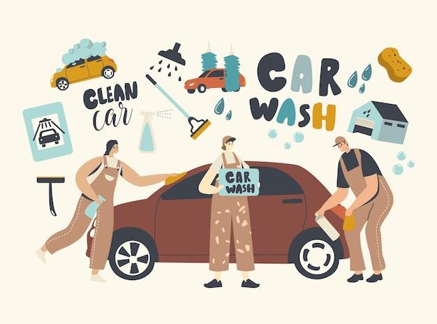 Conceito de serviço de lavagem de carro. personagens de trabalhadores vestindo uniforme ensaboando automóvel com esponja e derramando com jato de água. funcionários da empresa de limpeza no processo de trabalho. ilustração em vetor de pessoas lineares