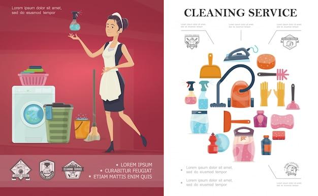Conceito de serviço de limpeza de desenho animado com diferentes equipamentos de limpeza doméstica e empregada segurando garrafa spray