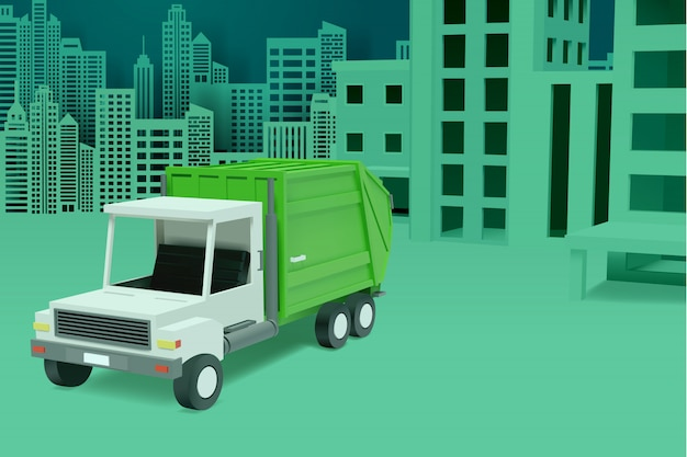 Conceito de serviço de limpeza de veículo sanitário urbano de cidade com caminhão de lixo.