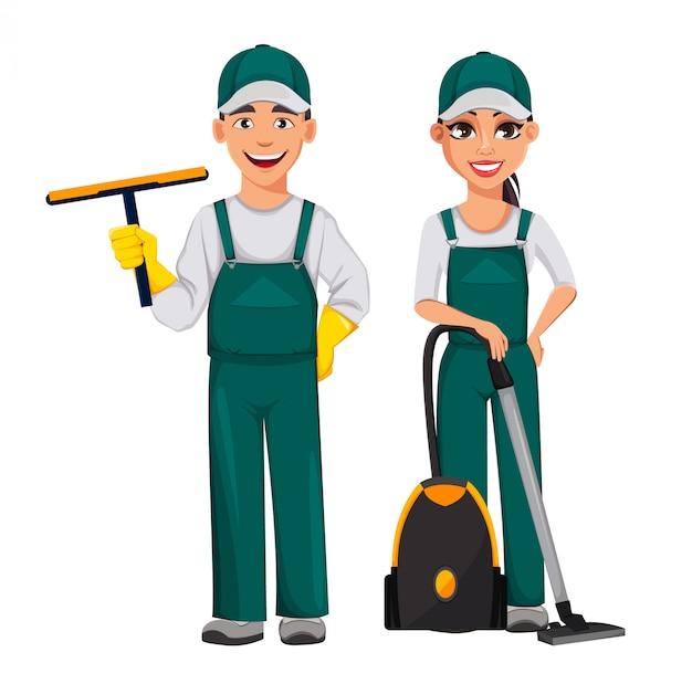 Conceito de serviço de limpeza, personagem de desenho animado alegre