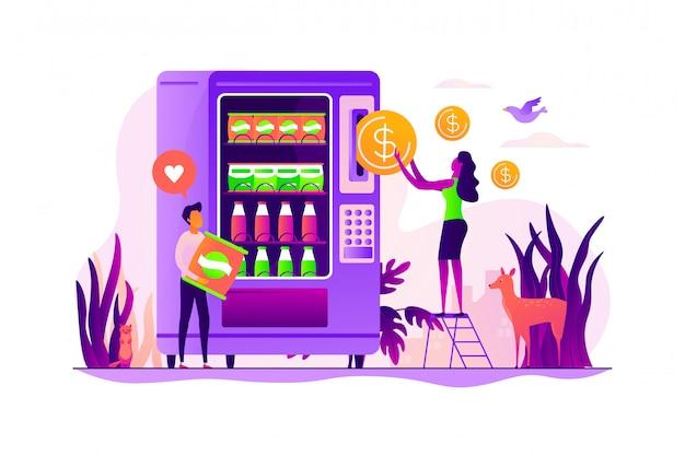 Conceito de serviço de máquina de venda automática.