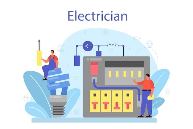 Conceito de serviço de obras de eletricidade. trabalhador profissional no elemento elétrico de reparo uniforme.