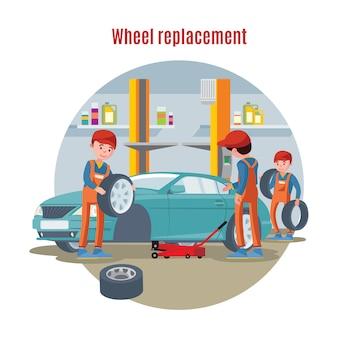 Conceito de serviço de pneu colorido