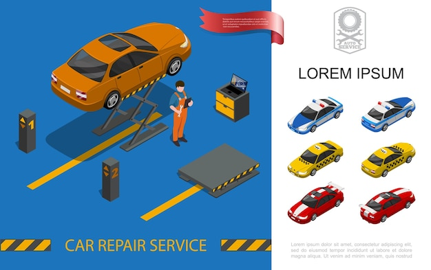 Conceito de serviço de reparo isométrico de carro