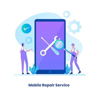 Conceito de serviço de reparo móvel de design plano ilustração para páginas de destino de sites, cartazes e banners de aplicativos móveis