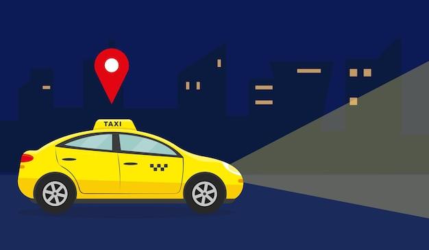 Conceito de serviço de táxi. carro amarelo na cidade à noite.