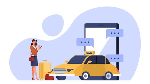 Conceito de serviço de táxi online. mulher livro carro no aplicativo para celular. transporte urbano. ilustração