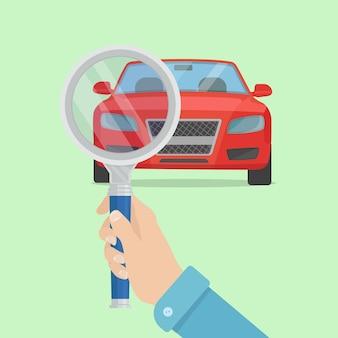 Conceito de serviço do carro. mão do homem com lupa verificar automático. diagnóstico do veículo.