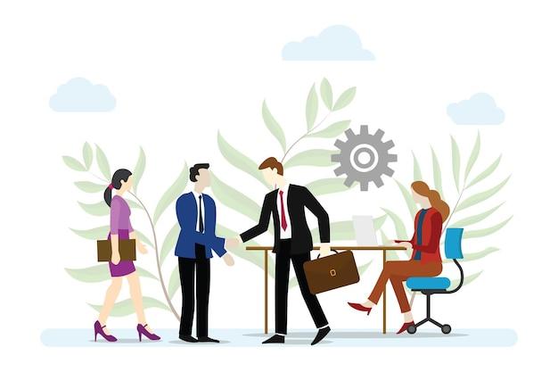 Conceito de serviço empresarial com pessoas trabalham e fazem acordos com ilustração vetorial de estilo simples moderno