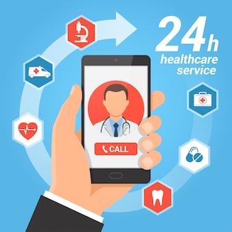 Conceito de serviço móvel de saúde.