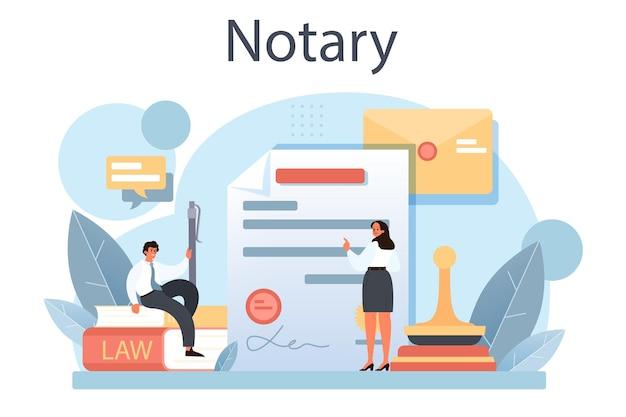 Conceito de serviço notarial. assinatura e legalização de advogado profissional