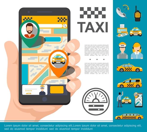 Conceito de serviço on-line de táxi plano com a mão segurando o celular com aplicativo de pedido de táxi rádio conjunto de carros contador de dinheiro driver operador ilustração