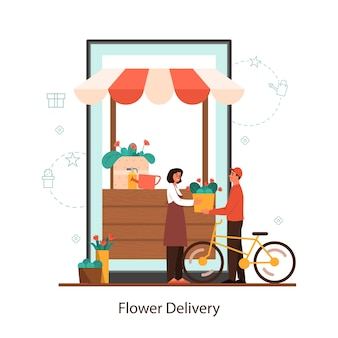 Conceito de serviço online de entrega de flores