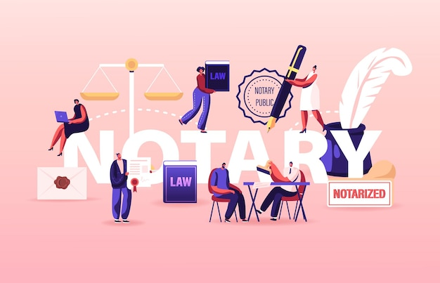 Conceito de serviço profissional de notário. pessoas visitam escritório de advocacia para assinatura e documentos de legalização. ilustração de desenho animado