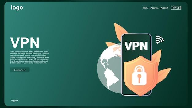 Conceito de serviço vpn usando vpn para proteger seus dados pessoais em computador virtual private network
