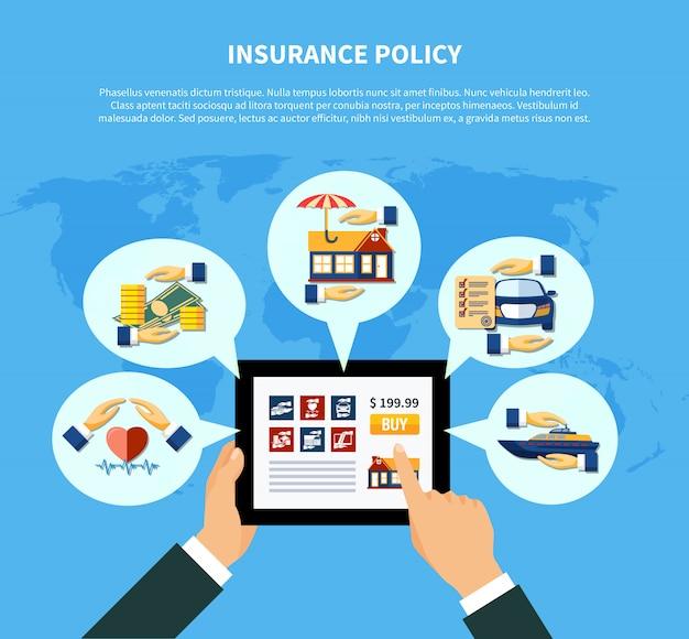 Conceito de serviços de apólice de seguro