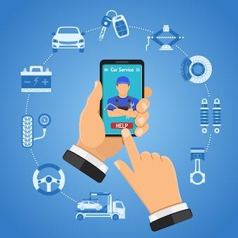 Conceito de serviços de carro on-line