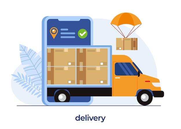 Conceito de serviços de entrega, aplicativo de entrega online, ventilador com pacote, frete, vetor de ilustração plana