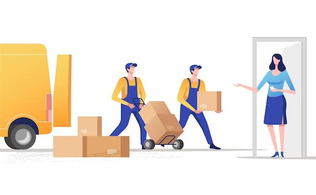 Conceito de serviços de entrega expressa entrega de encomendas à porta
