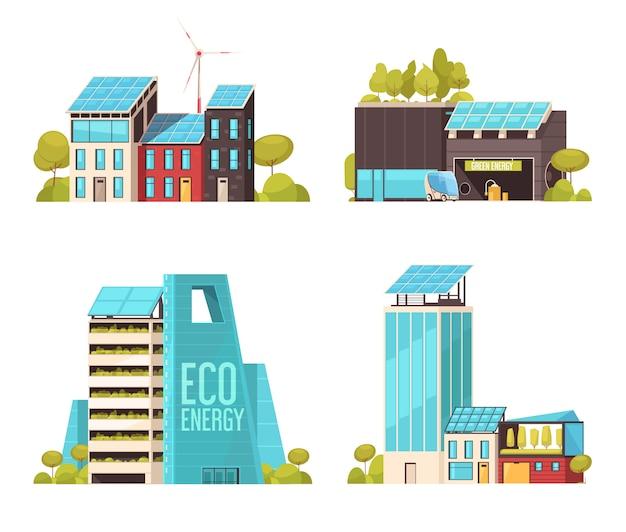 Conceito de serviços de infraestrutura de tecnologia de cidade inteligente 4 composições planas com energia ecológica, usando instalações isoladas