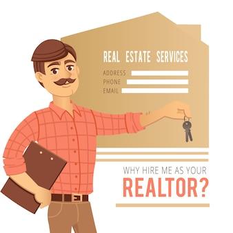 Conceito de serviços imobiliários. agente mostrando uma casa.