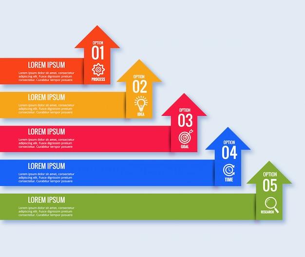 Conceito de seta de infográficos de negócios criativos