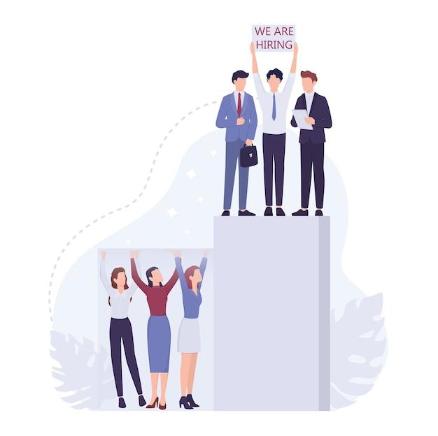 Conceito de sexismo empresarial. teto de vidro e questões de discriminação no local de trabalho para mulheres. agente de rh do empresário contratando apenas homens para um cargo elevado. .