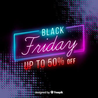 Conceito de sexta-feira negra com design de néon