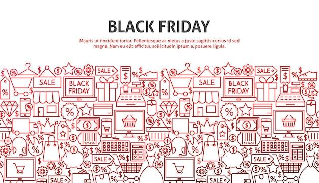 Conceito de sexta-feira negra. ilustração em vetor de design de site de linha. modelo de banner.