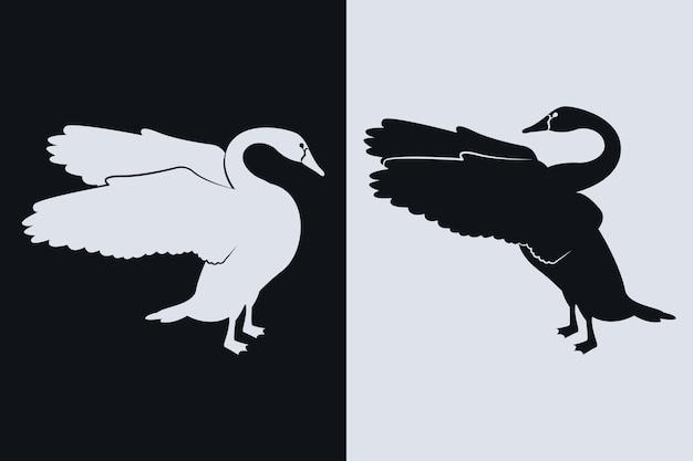 Conceito de silhueta de cisne