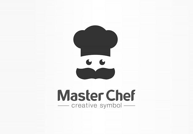 Conceito de símbolo criativo de chef mestre. cozinhe o rosto, bigode e chapéu, logotipo do negócio abstrato de restaurante. cozinha baker, menu de café, ícone de comida saborosa