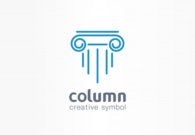 Conceito de símbolo criativo de coluna. capital antigo pilar abstrato negócios arquiteto ordem logotipo. ancent museu, banco, biblioteca, teatro, justiça ícone