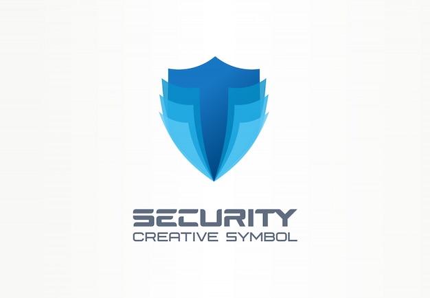 Conceito de símbolo criativo de escudo de segurança cibernética. segurança digital, idéia de logotipo de negócio abstrato de proteção segura e complexa. ícone de defesa total.