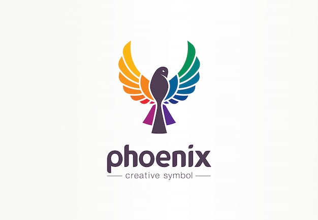 Conceito de símbolo criativo de phoenix de cor. liberdade, linda, idéia de logotipo de negócio abstrato de moda. silhueta de pássaro em voo, ícone do arco-íris