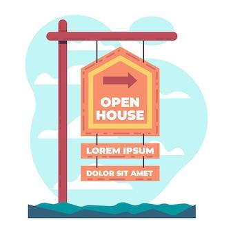 Conceito de sinal de casa aberta de imóveis